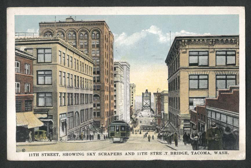 11th Street Trolley Skyscrapers Bridge Tacoma WA postcard 1924