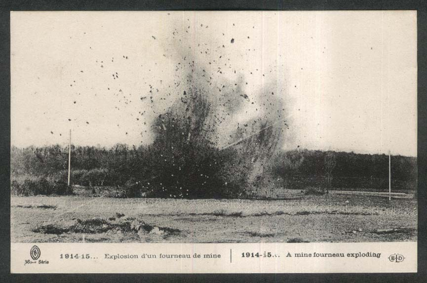 Mine Fourneau Exploding World War I postcard 1910s