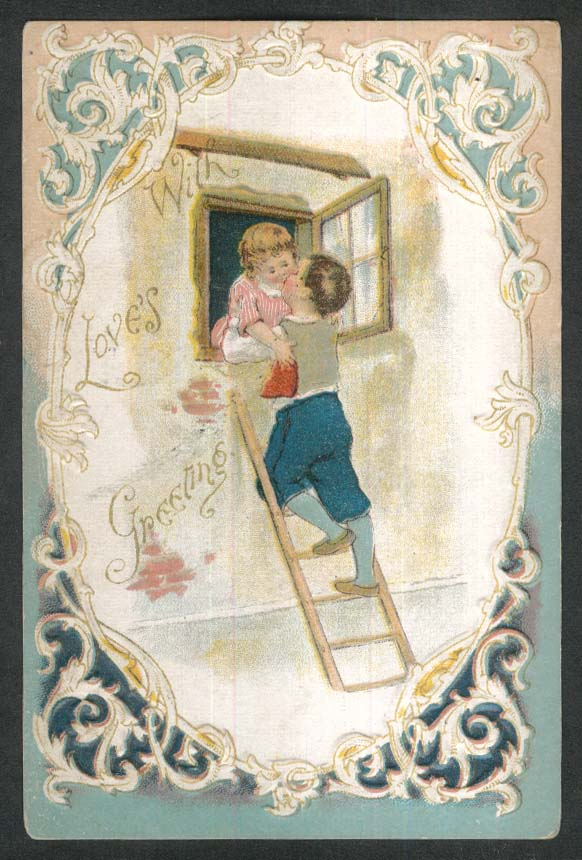 Love's Greetings boy on ladder in girl's window embossed postcard 1910