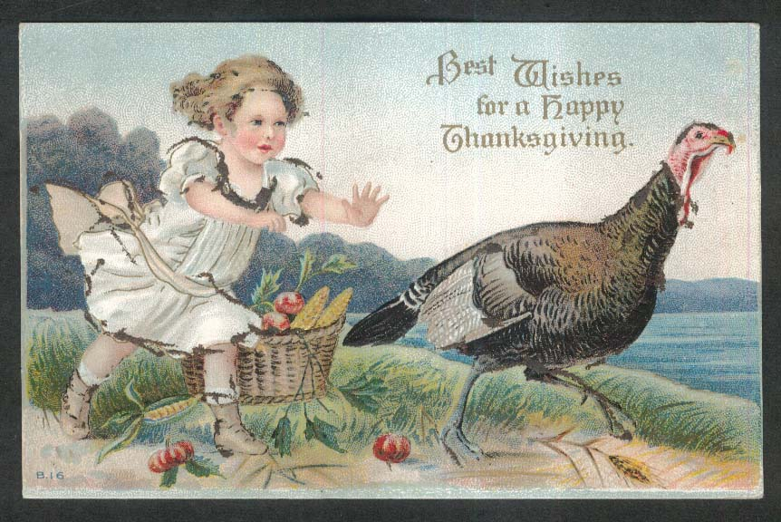 Happy Thanksgiving girl chasing turkey embossed postcard 1910s