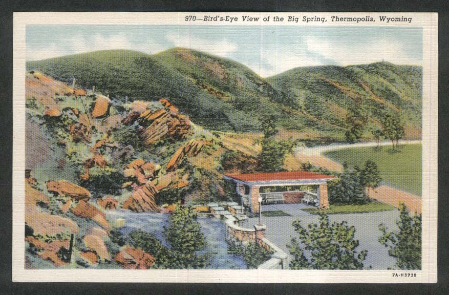 Bird's-Eye View of Big Spring Thermopolis WY postcard 1930s