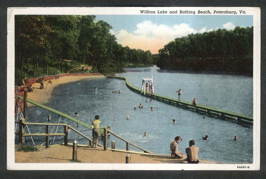 Willcox Lake & Bathing Beach Petersburg VA postcard 1930s