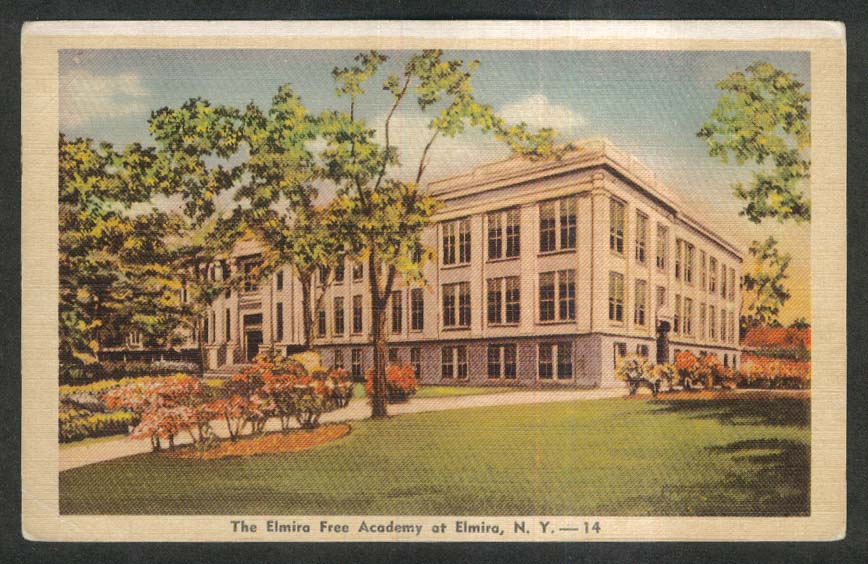 The Elmira Free Academy at Elmira NY postcard 1930s