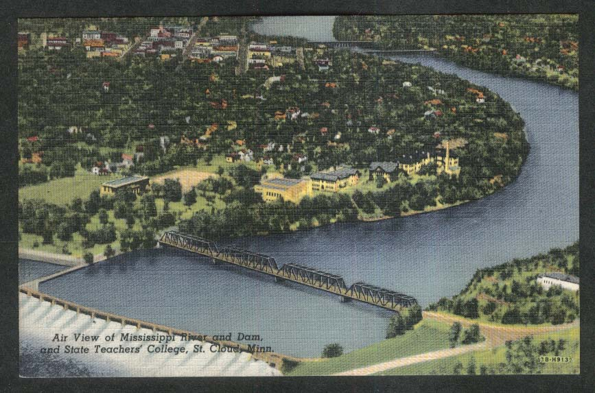 Air View Mississippi River Dam State Teachers College St Cloud MN postcard 1930s