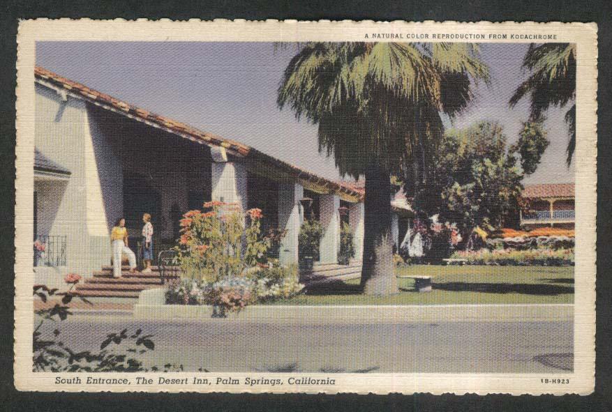 South Entrance Desert Inn Palm Springs CA postcard 1930s