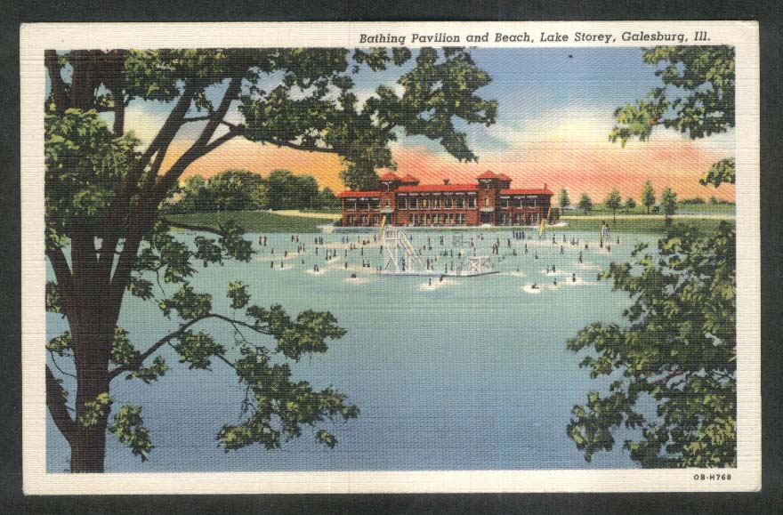 Bathing Pavilion & Beach Lake Storey Galesburg IL postcard 1930s