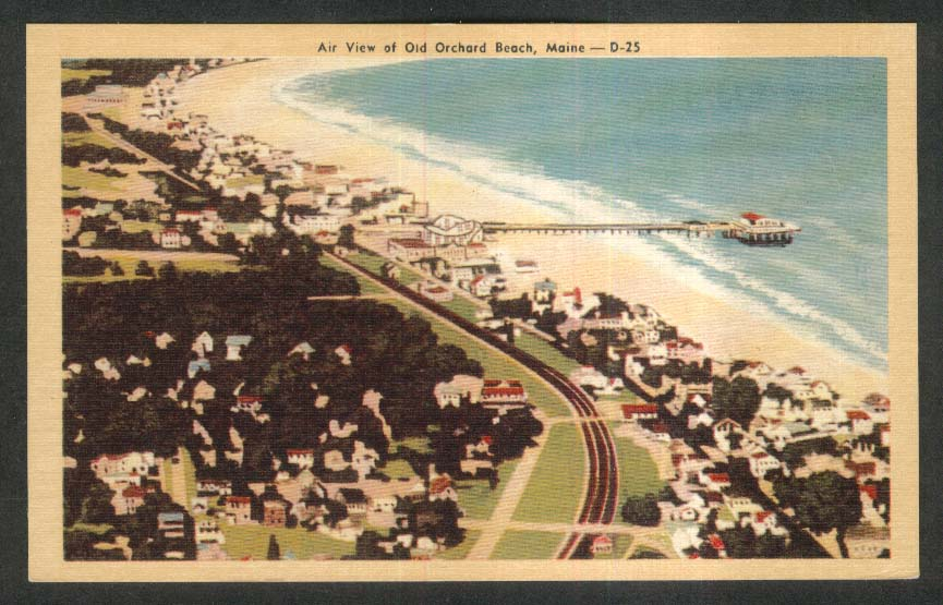 Air View of Old Orchard Beach ME postcard 1930s