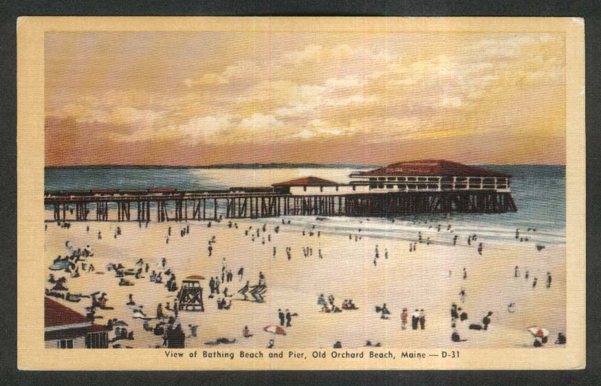 View of Bathing Beach & Pier Old Orchard Beach ME postcard 1930s