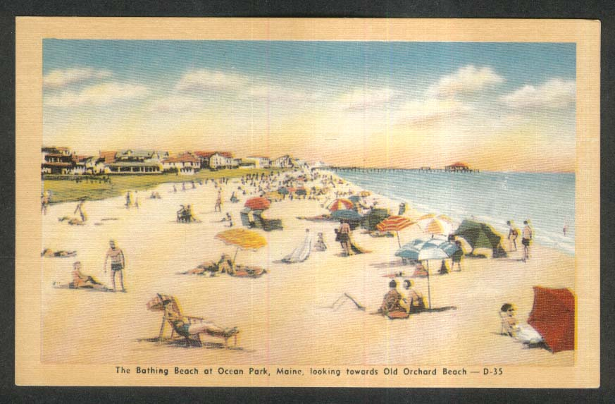 Bathing Beach at Ocean Park ME postcard 1930s