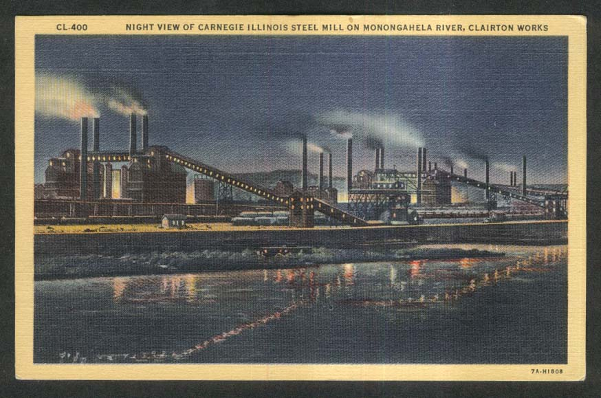Night at Carnegie Steel Mill Monongahela River Clairton Works PA postcard 1930s