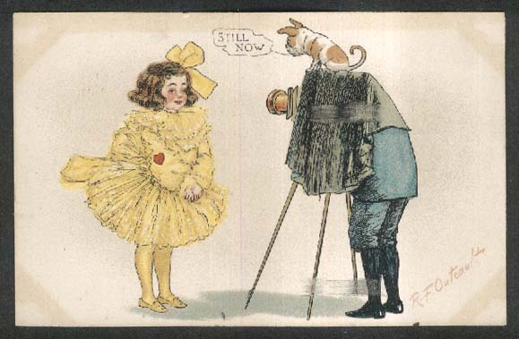 Girl in yellow dress photographed R F Outcault undivided back postcard 1906