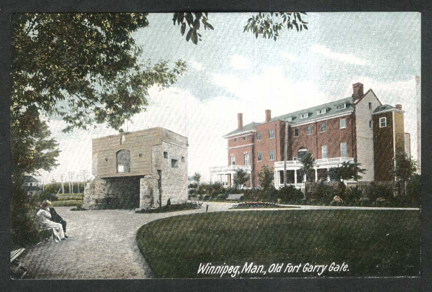 Old Fort Garry Gate Winnipeg Manitoba Canada postcard 1920s