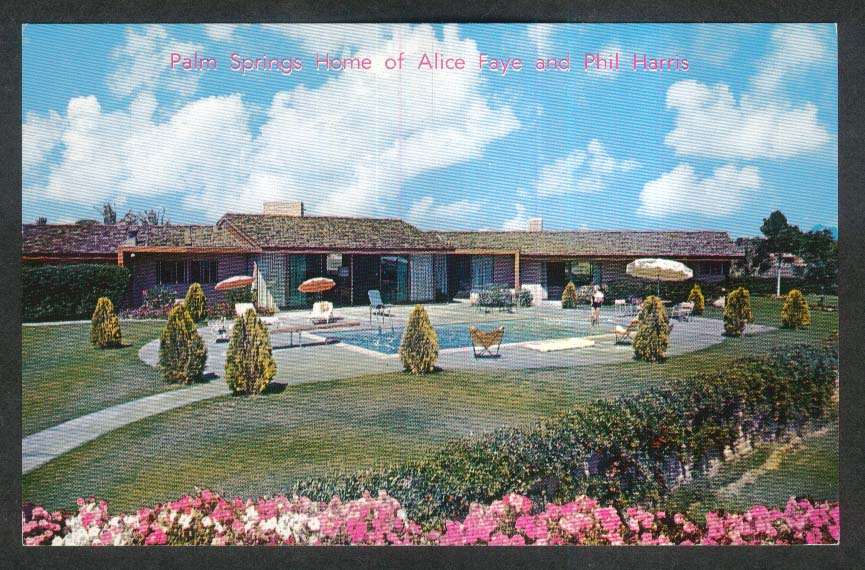 Palm Springs Home of Alice Faye & Phil Harris CA postcard 1950s