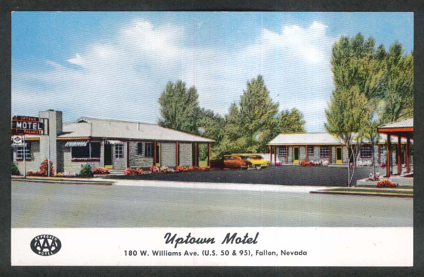 Uptown Motel 180 W Williams Ave Fallon NV postcard 1950s