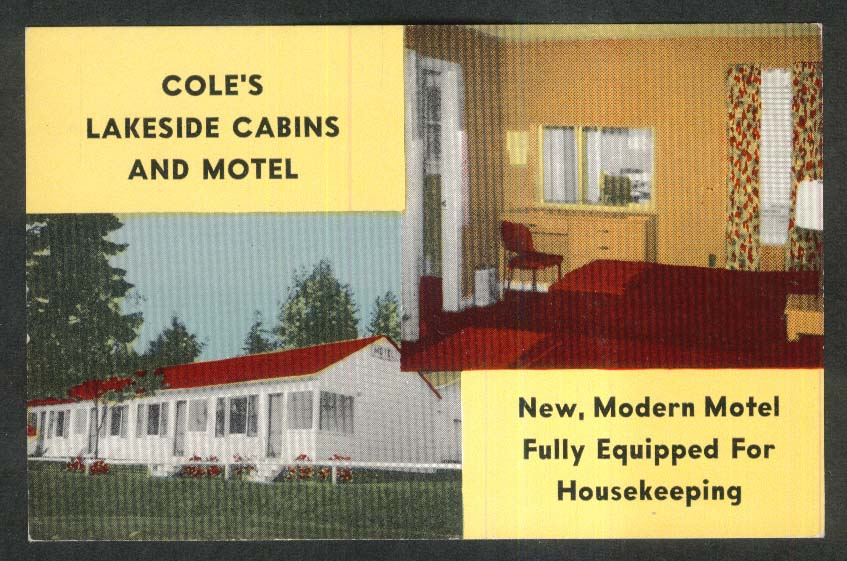 Cole's Lakeside Cabins & Motel Schroon Lake Adirondacks NY postcard 1950s