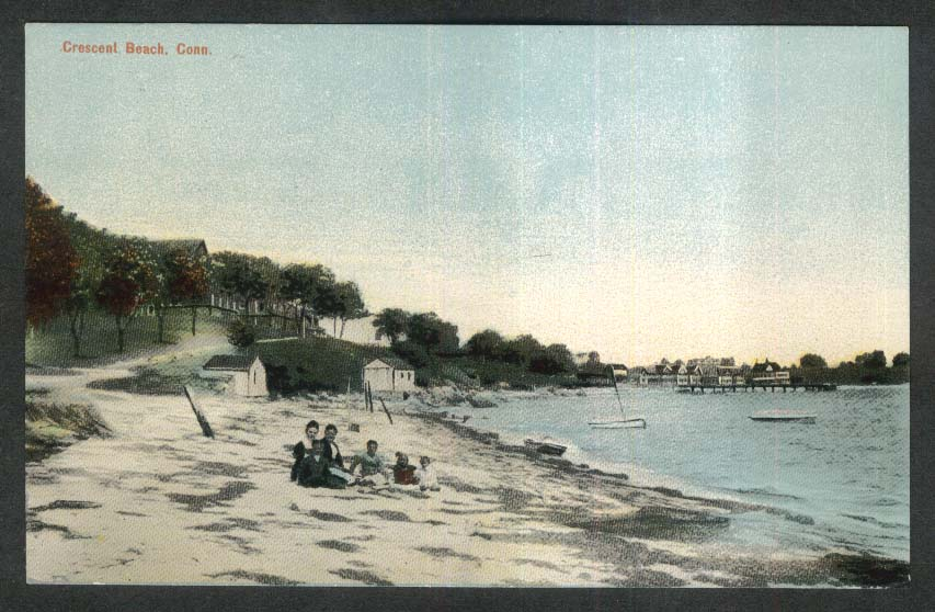 Family in sand on crescent beach ct postcard 1911 sciox Choice Image
