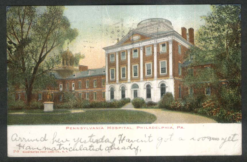 Pennsylvania Hospital Philadelphia PA undivided back postcard 1907