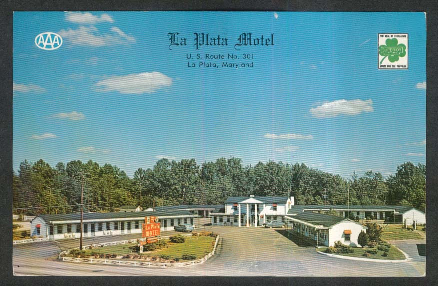 La Plata Motel US Route 301 La Plata MD postcard 1961