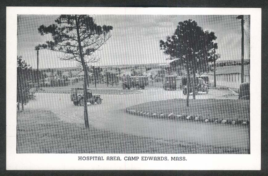 Hospital Area Camp Edwards MA Army-issue postcard 1940s