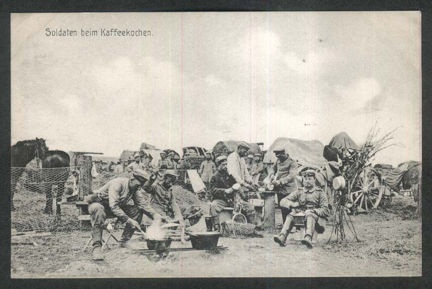 German Soldiers having coffee: German World War I postcard 1910s