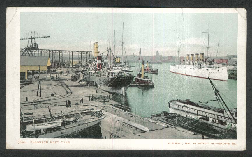 Brooklyn Navy Yard NY undivided back postcard 1904