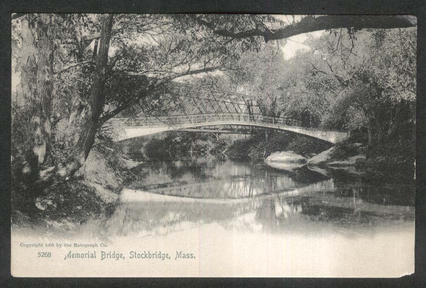 Memorial Bridge Stockbridge MA undivided back postcard 1905