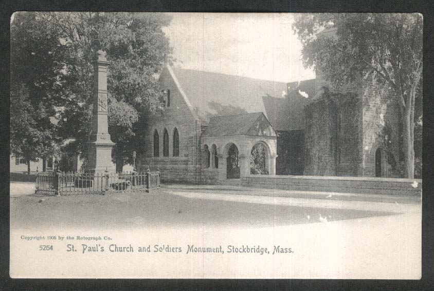 St Paul's Church & Soldiers Monument Stockbridge MA undivided back postcard 1905