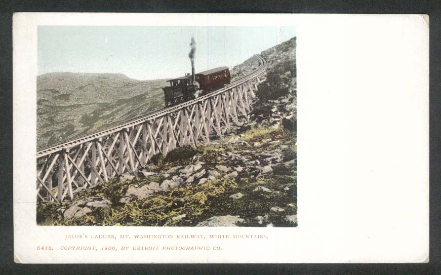 Jacob's Ladder Mount Washington Railway NH undivided back postcard 1900