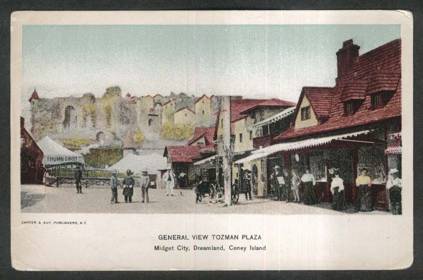 Tozman Plaza Midget City Dreamland Coney Island NY undivided back postcard 1900s
