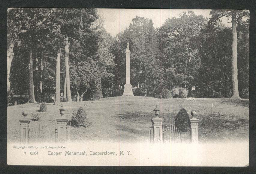Cooper Monument Cooperstown NY undivided back postcard 1905
