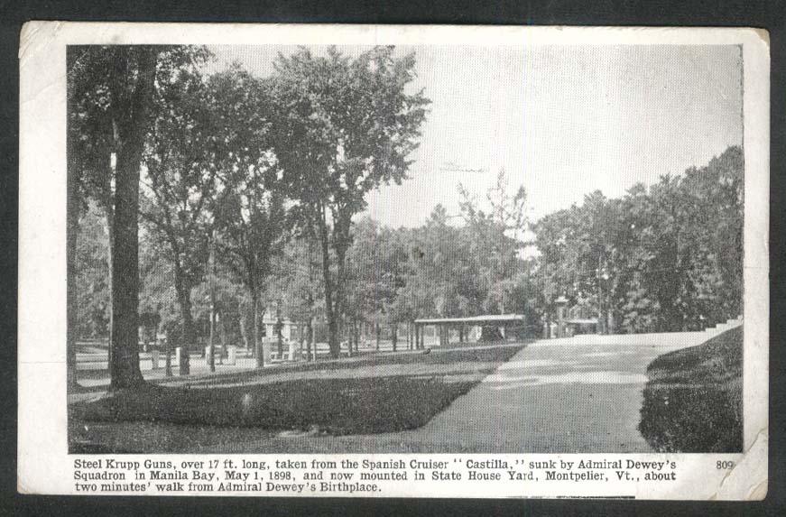 Steel Krupp Guns State House Yard Montpelier VT undivided back postcard 1900s