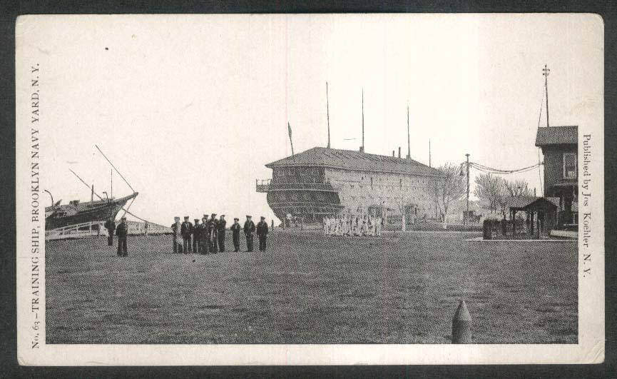 Training Ship Brooklyn Navy Yard NY undivided back postcard 1900s