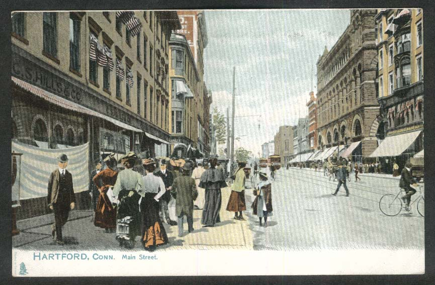 C S Hills & Co Main Street Hartford CT undivided back postcard 1900s