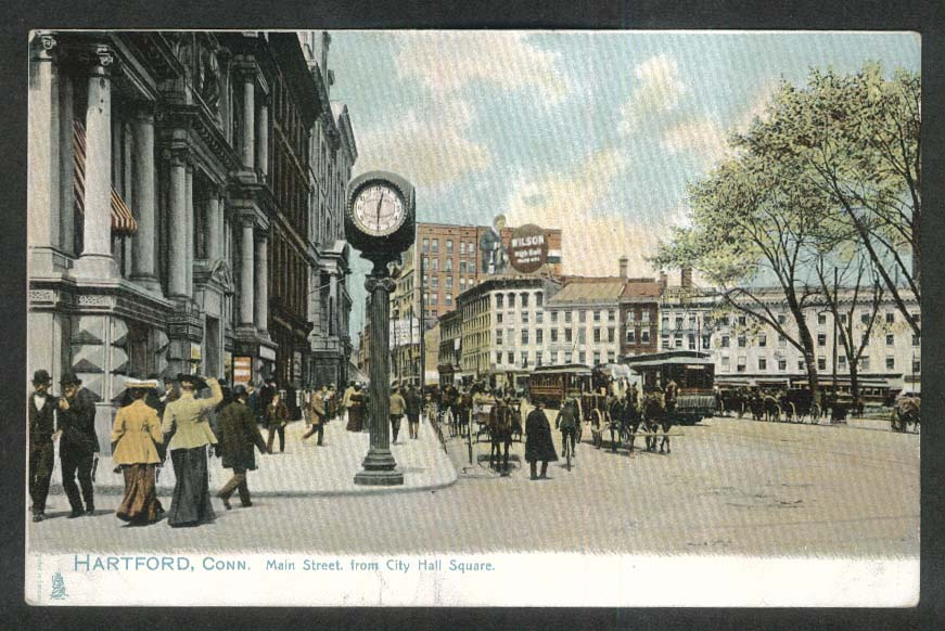 Wilson High Ball Sign Main Street Hartford CT undivided back postcard 1900s
