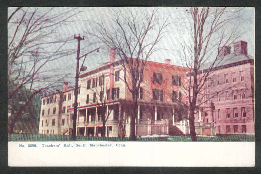 Teachers' Hall South Manchester CT undivided back postcard 1900s