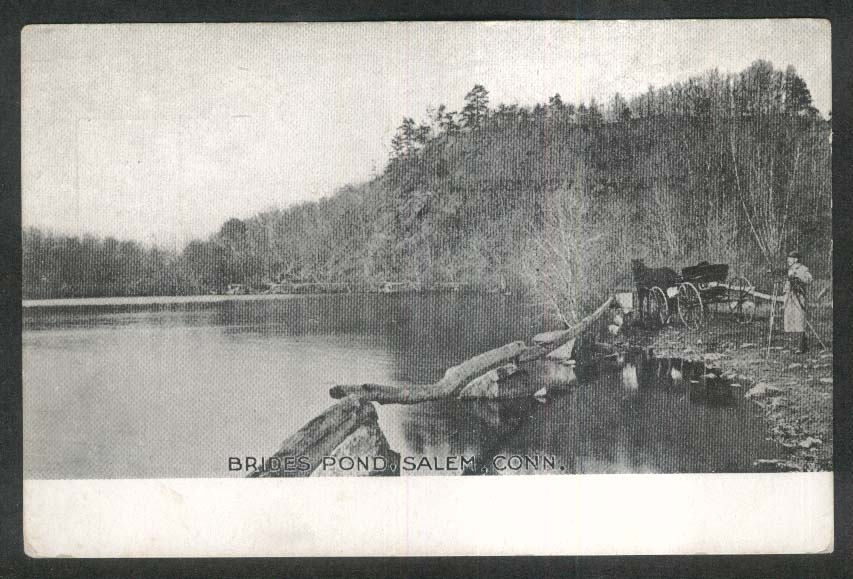 Brides Pond Salem CT undivided back postcard 1900s