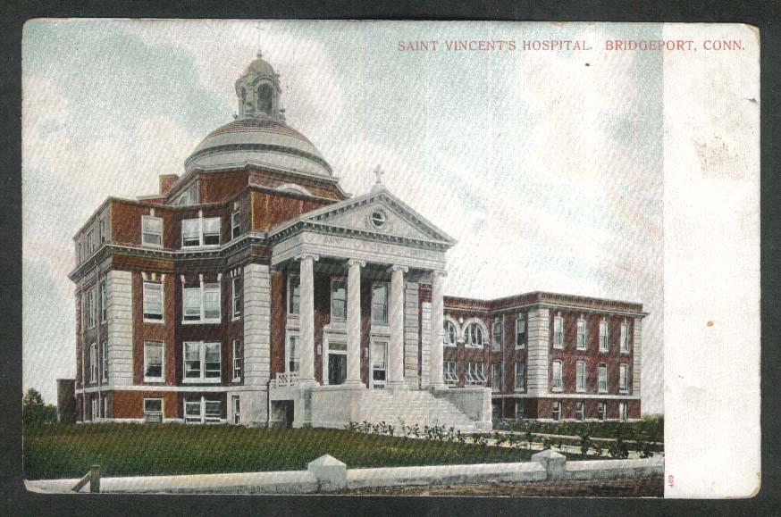 Saint Vincent's Hospital Bridgeport CT undivided back postcard 1900s