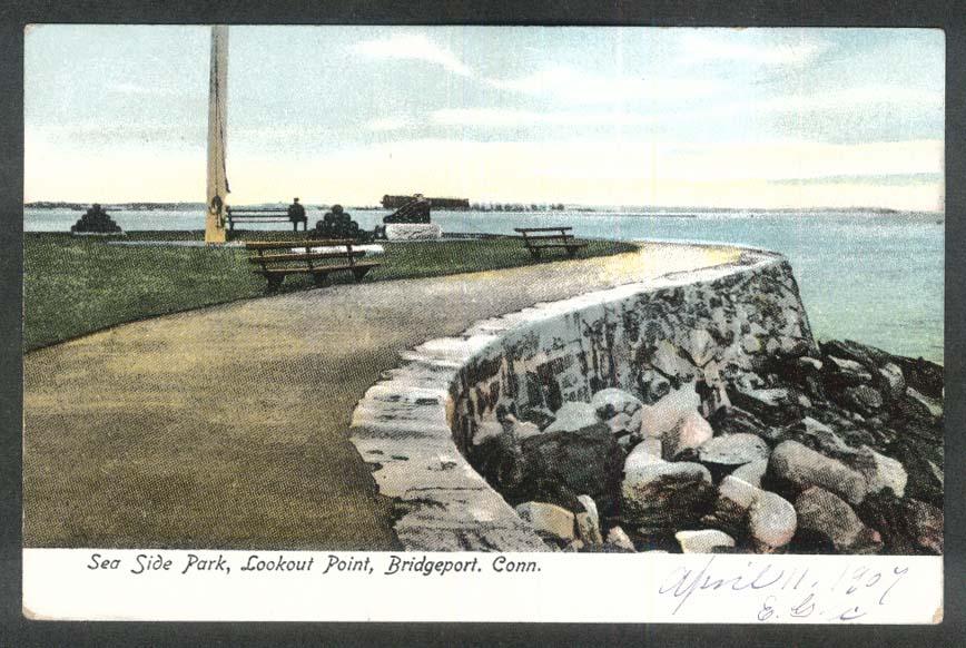 Sea Side Park Lookout Point Bridgeport CT undivided back postcard 1900s