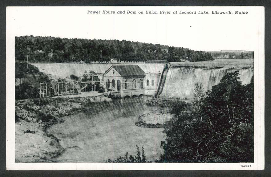 Power House & Dam on Union River Leonard Lake Ellsworth ME postcard 1940s