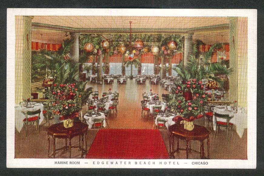 Marine Room Edgewater Beach Hotel Chicago IL postcard 1930s