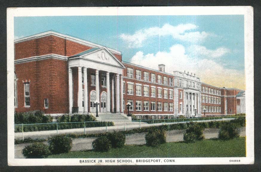Bassick Junior High School Bridgeport CT postcard 1920s