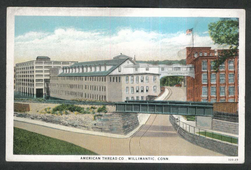 American Thread Co Willimantic CT postcard 1920s