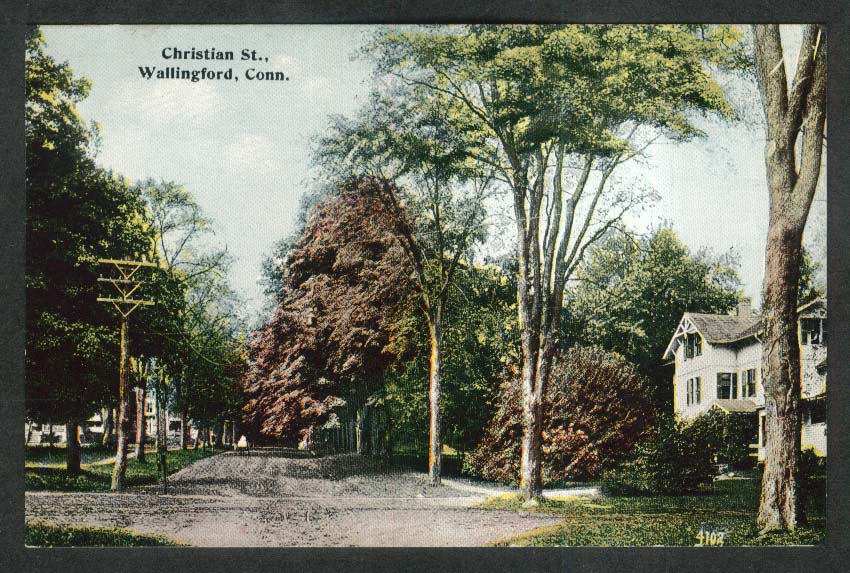 Christian St Wallingford CT postcard 1910s