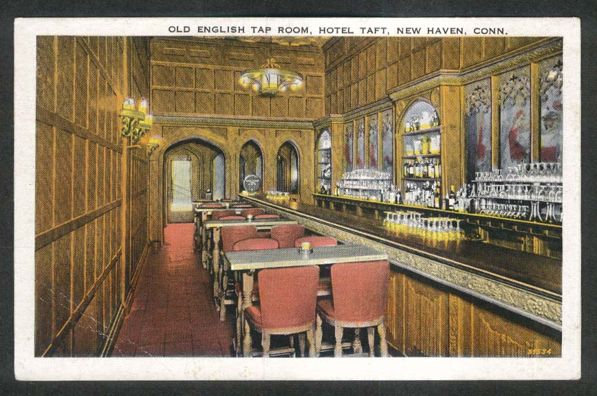Old English Tap Room Hotel Taft New Haven CT postcard 1920s