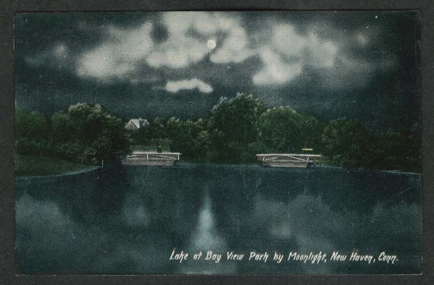 Lake at Bay View Park by Moonlight New Haven CT postcard 1910s