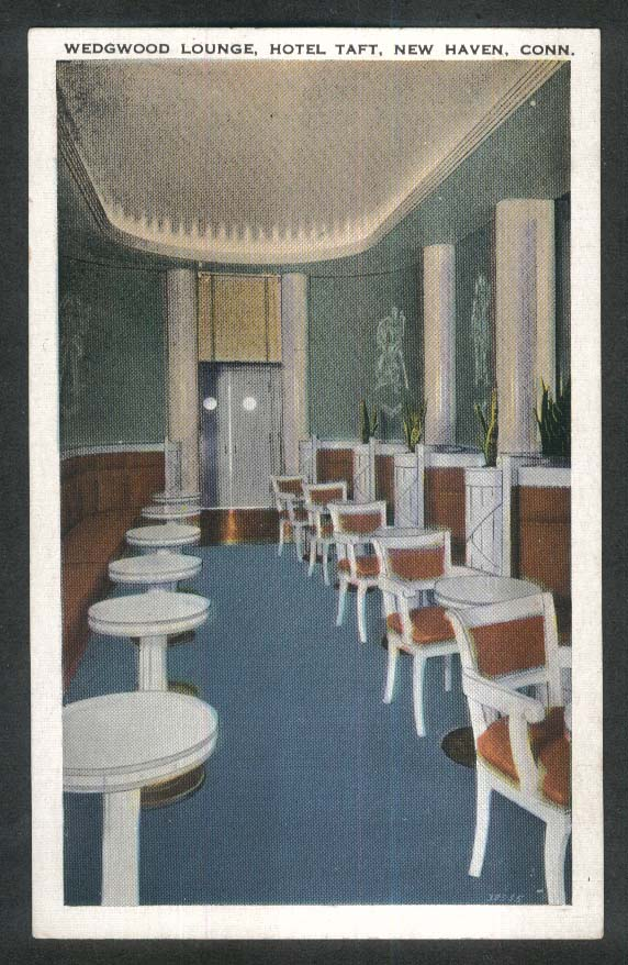 Wedgwood Lounge Hotel Taft New Haven CT postcard 1920s