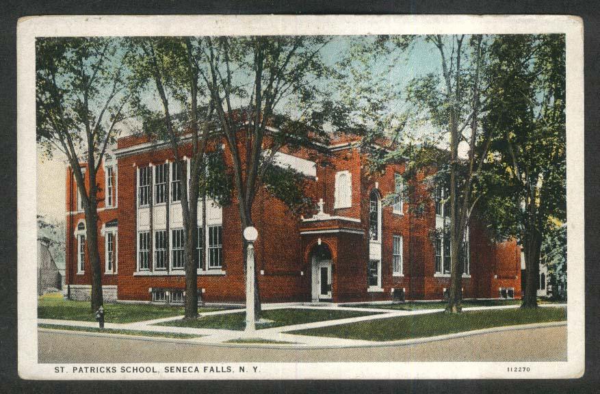 St Patrick's School Seneca Falls NY postcard 1920s