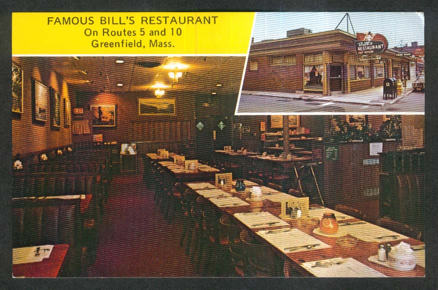 Famous Bill's Restaurant Greenfield MA 2-view postcard 1960s