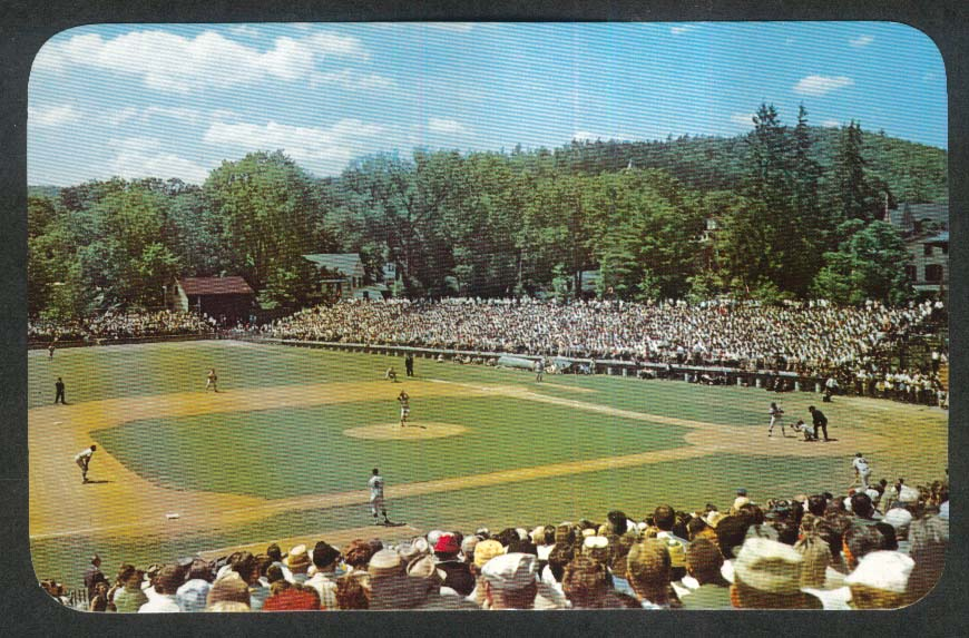 Hall of Fame Game at Doubleday Field Cooperstown NY postcard 1950s