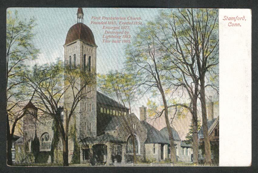 First Presbyterian Church Stamford CT postcard 1910s